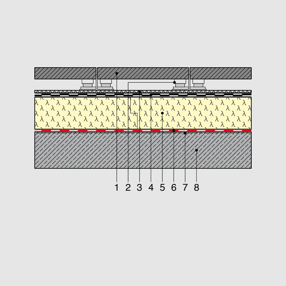 Super PU Dämmung im Flachdach, Gründach, Solardach, Terrassendach VZ08